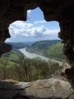 A grand Danube River View from Aggstein Castle in Wachau Valley