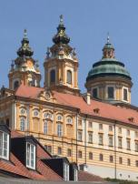 Melk is at the beginning of the Wachau Valley and is also on the Danube River. It's famous Benedictine Stift Melk Abbey dwarfs the little town.