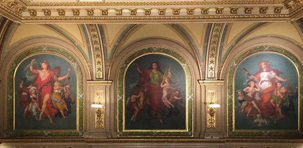 Paintings representing Ballet, Comic Opera and Tragic Opera above the Grand Staircase at the Opera House