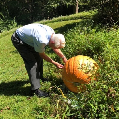 Terry Buettner with Their Big Pumpkin