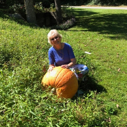 Loretta with their 100+ Pound Gourd